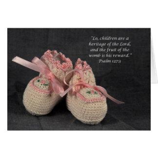 Félicitations d'écriture sainte de bébé carte de vœux