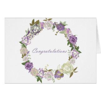 Félicitations foncées de roses de velours carte de vœux