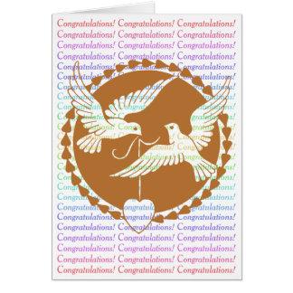 Félicitations gaies de mariage de colombes fières carte de vœux