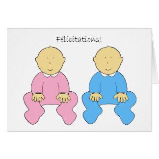Félicitations, jumeaux français, un garçon et carte de vœux