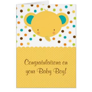 Félicitations mignonnes de bébé d'éléphant saluant carte de vœux