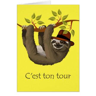 Félicitations sur la retraite en français, paresse carte de vœux