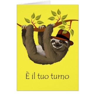Félicitations sur la retraite en italien, paresse carte de vœux
