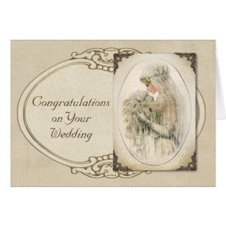 Félicitations vintages de mariage de jeune mariée carte de vœux