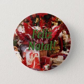 Feliz natal ! Joyeux Noël dans le gf portugais Badge Rond 5 Cm