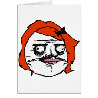 Femelle rouge je visage comique Meme de rage de Carte