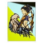 Femme asiatique et Eagle de guerrier Cartes De Vœux