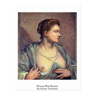 Femme avec des seins par Jacopo Tintoretto Carte Postale