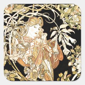 Femme dans des vignes de jasmin sticker carré