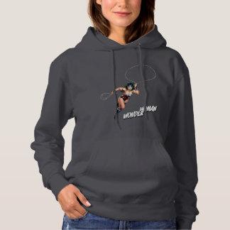Femme de merveille courant avec le lasso pull à capuche