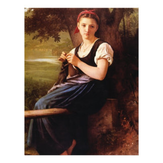 Femme de tricot par William-Adolphe Bouguereau Prospectus 21,6 Cm X 24,94 Cm