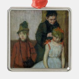 Femme d'Edgar Degas | avec deux petites filles Ornement Carré Argenté