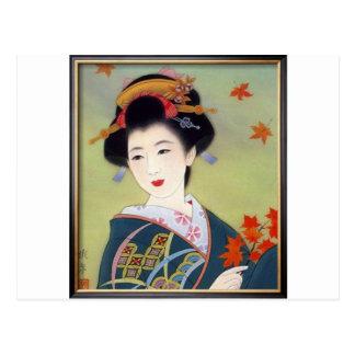 Femme japonaise dans le kimono bleu carte postale