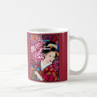 Femme japonaise dans le kimono mug