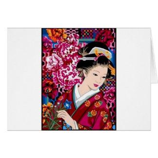 Femme japonaise vintage dans le kimono carte de vœux
