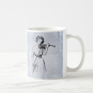 Femme jouant l'illustration de cru de violon mug