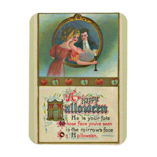 Femme vintage de Halloween avec l'homme dans Magnets Souples