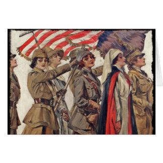 Femmes de WWI soignant des recrues Carte