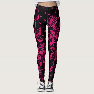 Femmes roses et guêtres florales noires leggings