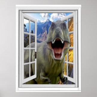 Fenêtre de faux d'image de dinosaure de T-Rex Poster