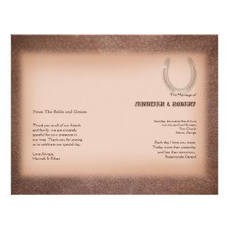 Fer à cheval chanceux sur le programme en cuir de prospectus 21,6 cm x 24,94 cm