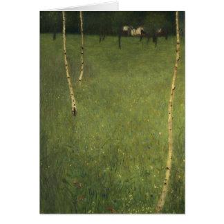 Ferme avec des arbres de bouleau, 1900 carte