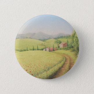 Ferme toscane, Italie dans l'insigne en pastel Badge Rond 5 Cm