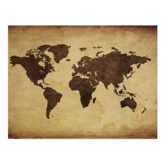 Fermez-vous de la carte antique 3 du monde carte postale