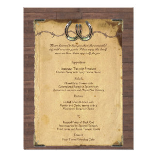 Fers à cheval rustiques de pays épousant le menu prospectus 21,6 cm x 24,94 cm