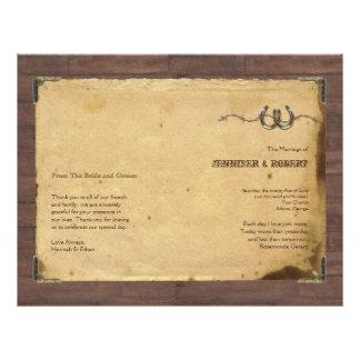 Fers à cheval rustiques de pays épousant le prospectus 21,6 cm x 24,94 cm