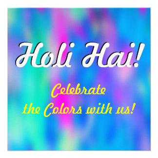 Festival HOLI van Kleuren 2 + uw ideeën 13,3x13,3 Vierkante Uitnodiging Kaart
