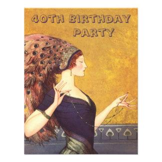 Fête d anniversaire d aileron de paon d art déco q invitations personnalisées