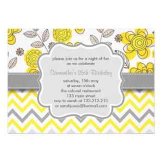 Fête d anniversaire moderne florale jaune et grise faire-part personnalisables