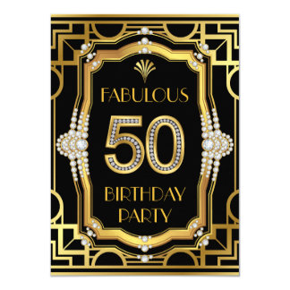 Fête d'anniversaire 50 fabuleuse d'art déco carton d'invitation  11,43 cm x 15,87 cm