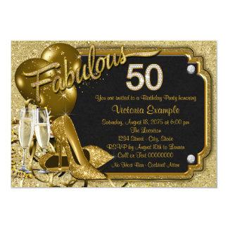 Fête d'anniversaire 50 fabuleuse de scintillement carton d'invitation  12,7 cm x 17,78 cm
