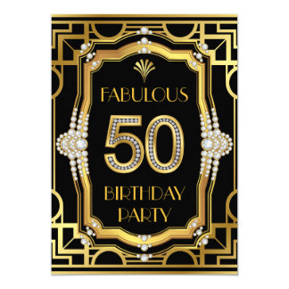 Fête d'anniversaire 50 fabuleuse fascinante d'art carton d'invitation  12,7 cm x 17,78 cm