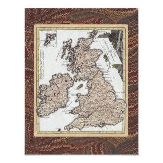 Fête d'anniversaire anglaise démodée de rampement carton d'invitation 10,79 cm x 13,97 cm
