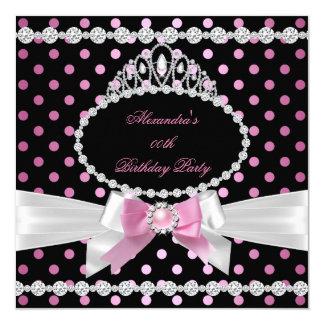 Fête d'anniversaire blanche noire rose de pois de carton d'invitation  13,33 cm