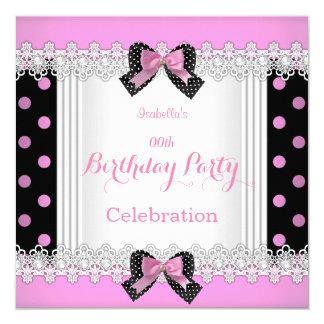 Fête d'anniversaire blanche noire rose mignonne de carton d'invitation  13,33 cm