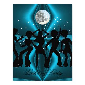 Fête d'anniversaire bleue de danse de disco carton d'invitation 10,79 cm x 13,97 cm