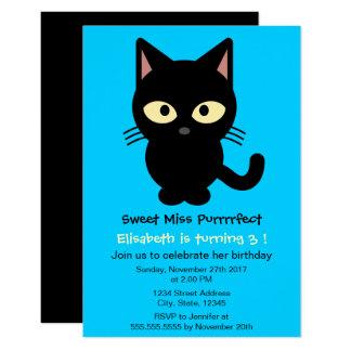 Fête d'anniversaire bleue de fille de bande carton d'invitation 8,89 cm x 12,70 cm