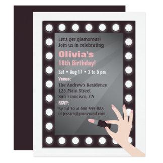 Fête d'anniversaire chic de filles de maquillage carton d'invitation 10,79 cm x 13,97 cm