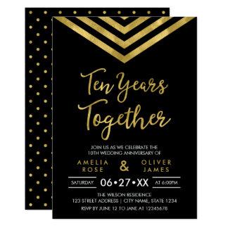 Fête d'anniversaire de Chevron d'or moderne de Carton D'invitation 12,7 Cm X 17,78 Cm