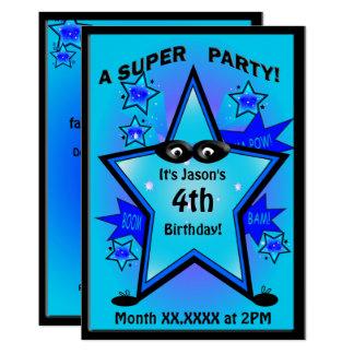 Fête d'anniversaire de garçon d'étoile de super carton d'invitation  12,7 cm x 17,78 cm