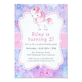 Fête d'anniversaire de la fille rose mignonne de carton d'invitation  12,7 cm x 17,78 cm