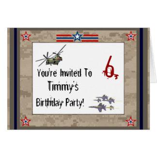 Fête d'anniversaire de l'armée des enfants carte de vœux