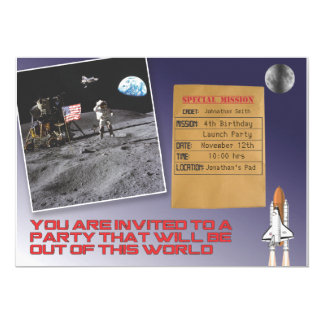 Fête d'anniversaire de l'espace carton d'invitation  12,7 cm x 17,78 cm