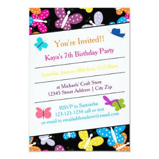 Fête d'anniversaire de papillon - invitation 3x5