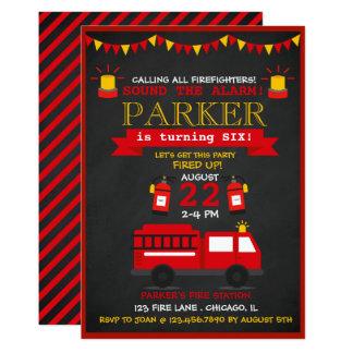 Fête d'anniversaire de pompier de tableau carton d'invitation  12,7 cm x 17,78 cm