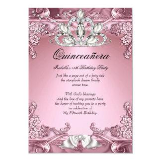 Fête d'anniversaire de rose de Quinceanera 15ème Carton D'invitation 12,7 Cm X 17,78 Cm